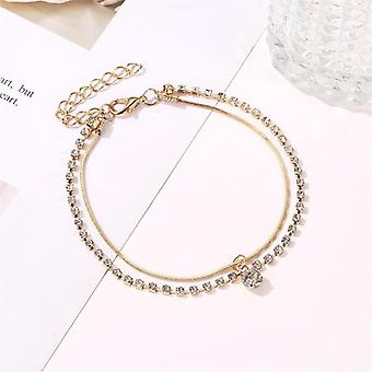 Fashion Double Layer-chain, Crystal Anklet, Summer Barefoot Sandals Bohemian