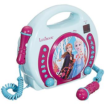 Lexibook disney frozen anna and elsa cd player for kids with 2 toy microphones, headphones jack, wit