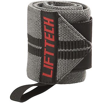 Lift Tech Fitness Comp Thumb Loop Weight Lifting Wrist Wraps - Gray