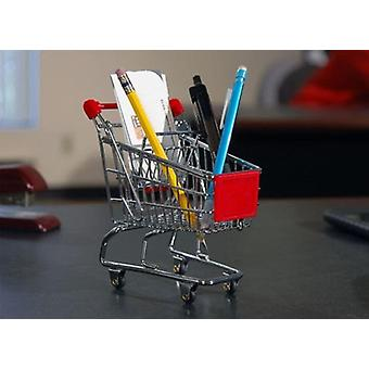 Mini Shopping Cart Pen Holder Desk Accessory