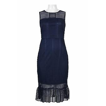 Neck Sleeveless Zipper Back Illusion Embroidered Mesh Dress