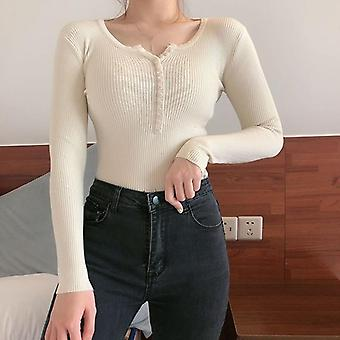 Autumn/winter Button V Neck Sweater Slim Pullover Sweaters And Pullovers Knit