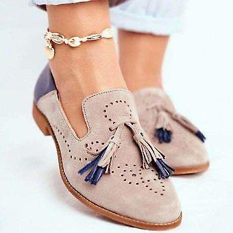 Single Oxford Shoes, Fall Women Shoes Flats Leather Mom Solid Color Casual