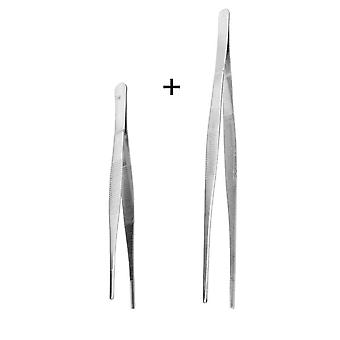 Stainless Steel, Toothed Long Barbecue, Food Tong, Straight Tweezer Tool