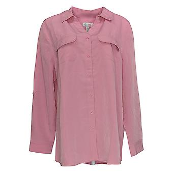 Denim & Co. Kvinder's Top Roll Tab Sleeve Button Front Tunic Pink A227885
