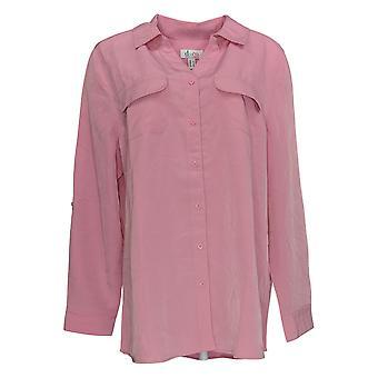 Denim & Co. Frauen's Top Roll Tab Sleeve Button Front Tunika rosa A227885