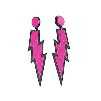 Ilovecos 80s fancy dress accessories neon lightning earrings(3) 3
