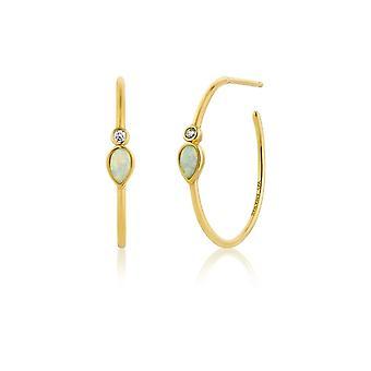 Ania Haie Silver Shiny Gold Plated Opal Colour Raindrop Hoop Earrings E014-04G