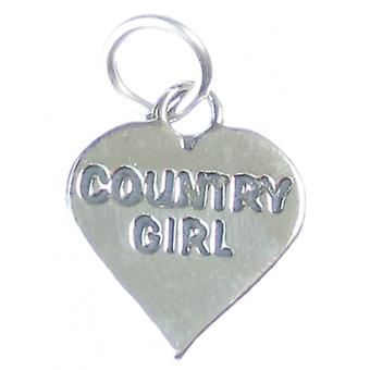 Country Girl Heart Sterling Silver Charm .925 X 1 Girls Hearts Charms - 4138