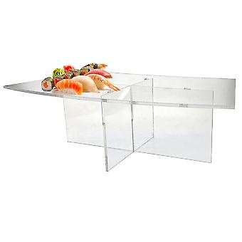 OnDisplay Cross Tier Acrylic Display Rack/Stand - Elegant Hors D'Ouevres/Sushi/Dessert/Appetizer Clear Display