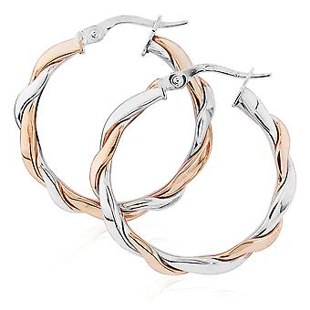 Jewelco Londres 9ct 2-cor ouro Twist Hoop Brincos 20mm