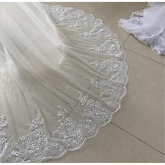 كاتدرائية طويلة الدانتيل الحافة، الحجاب الزفاف مع مشط