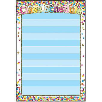 """Smart Poly Chart, 13"""" X 19"""", Horaire des classes de confettis, W/Grommet"""