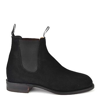 R.M. Williams Turnout Black Suede Chelsea Boots