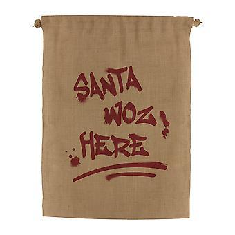 Grindstore Santa Woz Here Hessian Santa Sack