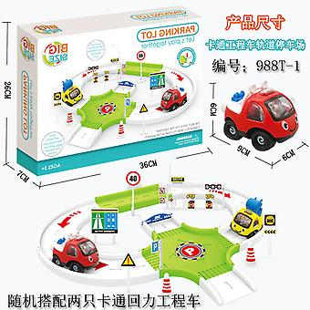 Children's cartoon construction vehicle track parking lot toy