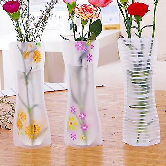 Plastic Pvc Vase Portable Eco-friendly Flower Cute Foldable Vase (random Color)