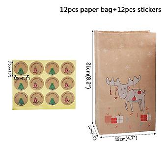 12pcs Easter Kraft Paper Bag With Sticker