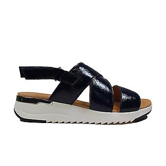 Caprice 28702-889 Navy Leather Womens Sling Back Sandals