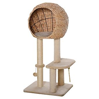 PawHut Cat tree Tower 100cm Climbing Activity Center Kitten with Sisal Scratching Post Condo Perch Hanging Balls Teasing Rope Toy Cushion