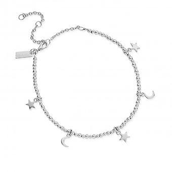 ChloBo Sterling Silver Mini Cute Moon & Stars Anklet SANMC8061104
