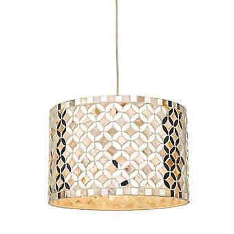 Cylindrical Easy Fit Pendant Light Mirror & Cream