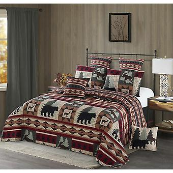 Spura Home Pictorial Wildlife Patch Print Novelty Full-Queen/King Quilt Set