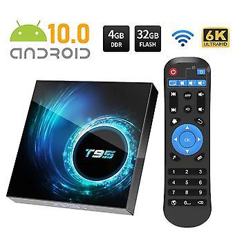 Android TV Box, Android 10.0 TV Box 4Gb RAM / 32Gb ROM H616 Quad Core 64 Bittiä, Tuki 2.4G + 5G Dual WiFi BT5.0 6K 3D H.265 Smart TV Boxs (Musta)