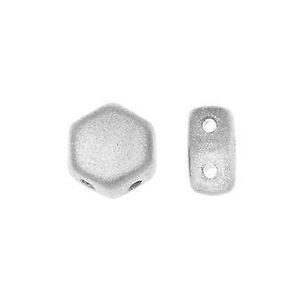 Czech Glass Honeycomb Beads, 2-Hole Hexagon 6mm, 30 Pieces, Crystal Bronze Aluminum