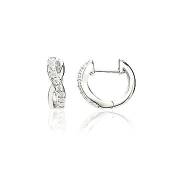 Eye Candy ECJ-CR0066 Interlocking Women's Earrings, in Sterling 925 Rhodium Silver, with 16 White Zircons