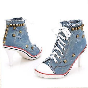 Mujeres Zapatos de lona Denim High Heels Remaches Zapatos Zapatos Zapatillas Deportivas Mujer Botas Cortas