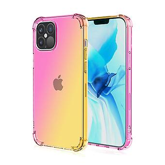 Soft tpu case for iphone 12pro max shockproof gradient pink&gold