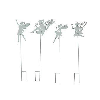 30 بوصة معدنية الجنية حديقة حصص ساحة الفن في الهواء الطلق الديكور الفناء زخرفة مجموعة من 4
