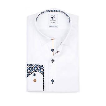 R2 Hidden Button Down Collar Long Sleeved Shirt White