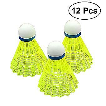 12pcs Advanced Nylon Feder Shuttlecocks mit großer Stabilität und Haltbarkeit Indoor Outdoor Sport Hight Training Badminton Shuttlecocks(gelb)