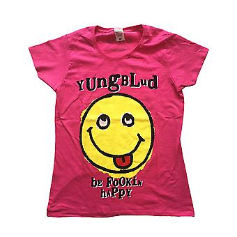 Yungblud T Shirt Raver Smile Logo new Official Womens Skinny Fit Pink