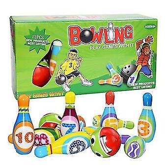 12pcs Kinder Outdoor und Indoor Eltern-Kind Bowling Sport Spielzeug Set (28,5 * 8,5 * 14,5 cm)