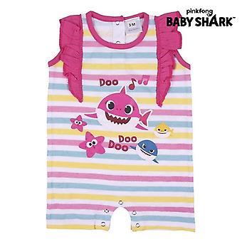 Baby's Short-sleeved Romper Suit Baby Shark Pink