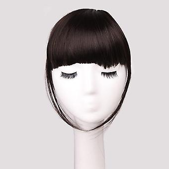 Κλιπ σε κτυπήματα μπροστά αμβλύ περιθωριοποιημένες περούκες φυσικό συνθετικό ψεύτικο μαλλιά επεκτάσεις hairpieces ombre καφέ για τις γυναίκες
