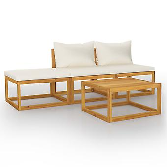 vidaXL 4-tlg. Kit de jardin-salon avec crème bois massif acacia