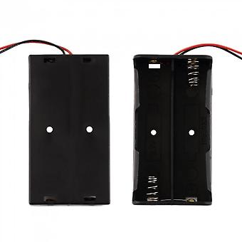 Battery Storage Case Plastic For 2 X 18650 Box Holder Black With Wire Leads