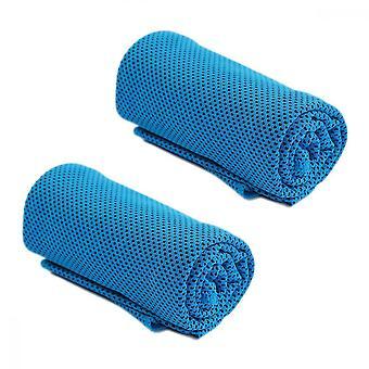 Toalha de Gelo, toalhas de microfibra de 2 peças Toalhas frias respiráveis macias para yoga gym running treino & mais atividades, azul claro
