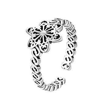 Silver plating Snowflakes Flower Adjustable Finger Ring Women Jewelry Gift