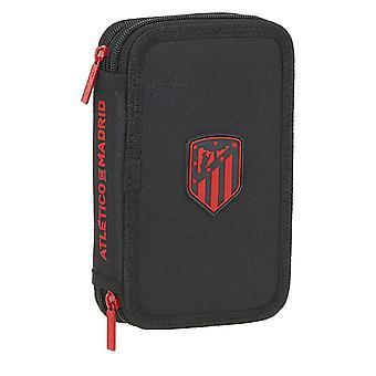 Double Pencil Case Atlético Madrid Black (28 pcs)