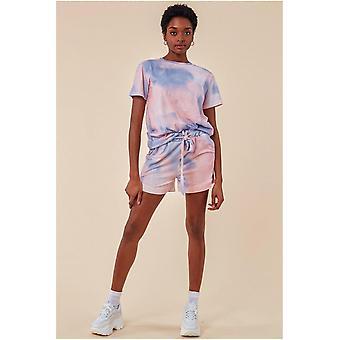 Cosmochic Tie-dye Oversized T-shirt & Short Set - Pink