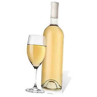 Giant White Wine Glass and Bottle Cardboard Cutout / Standee / Stand Up