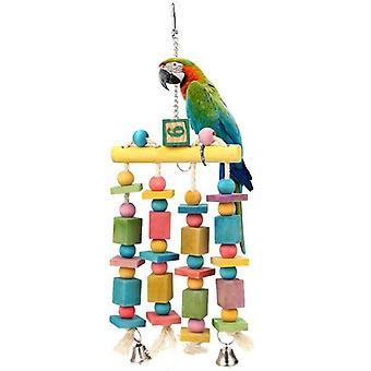 Bunte Perlen Glocken Papagei Spielzeug Aufhängung Hängebrücke Kette Haustier Vogel Papagei