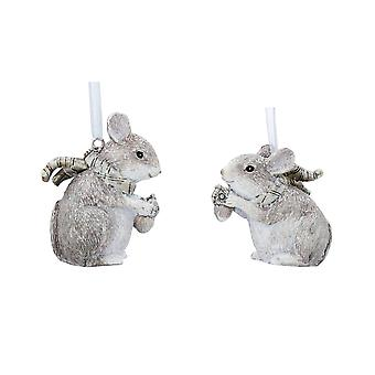 Gisela Graham Frosted Mice Christmas Decorations