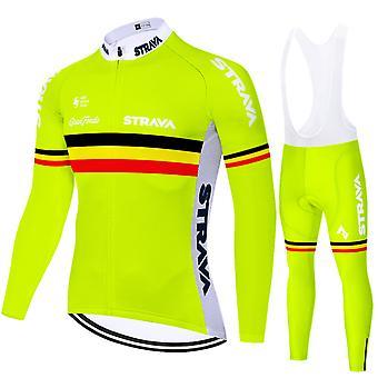 Strava Men's Cycling Jersey Long-sleeved Pro Cycling Bib Shorts Gel Clothing Set - Yellow