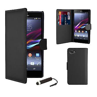 Book Wallet Leather Case + stylus for Sony Xperia M (C1904/C1905) - Black